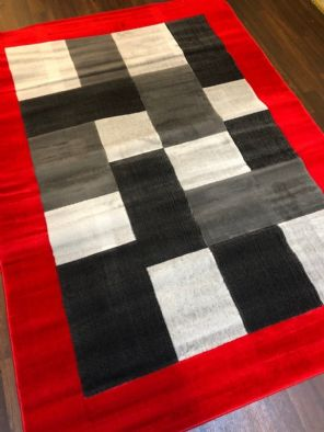 NEW MODERN BLOCK DESIGN RUGS RED 150X210CM 7X5FT APPROX LUXURY QUALITY MATS HOME
